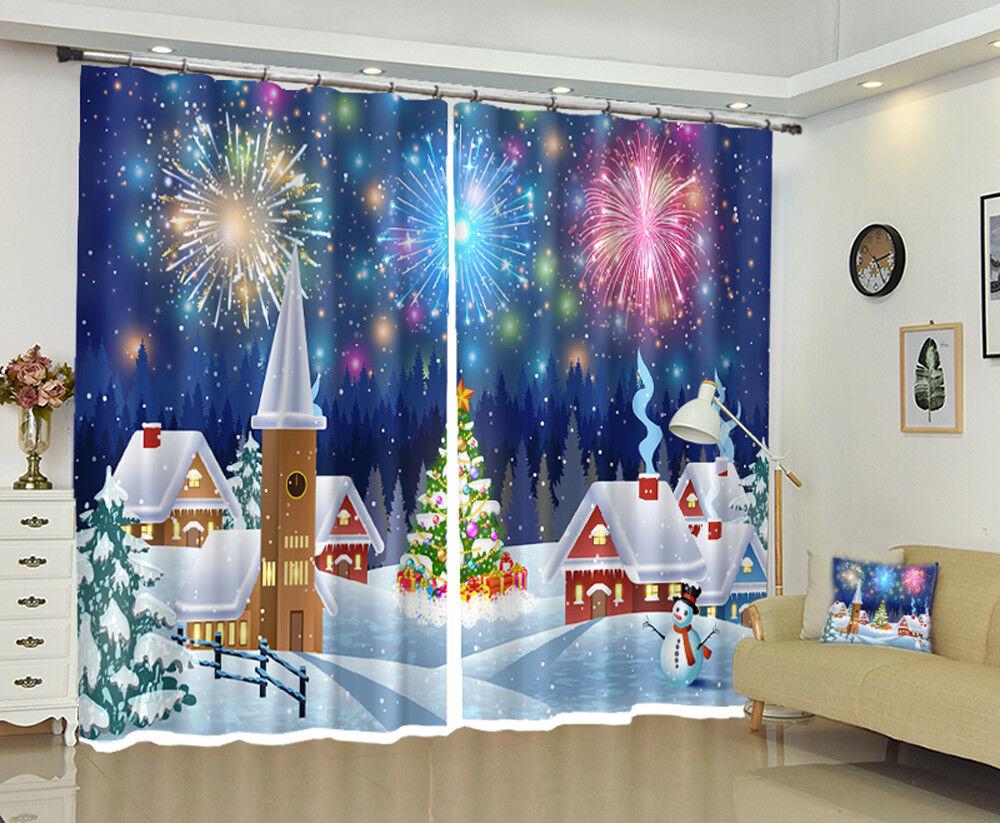 3D navidad navidad Cortina de foto 00 Blockout Impresión Cortinas Ventana De Tela Reino Unido