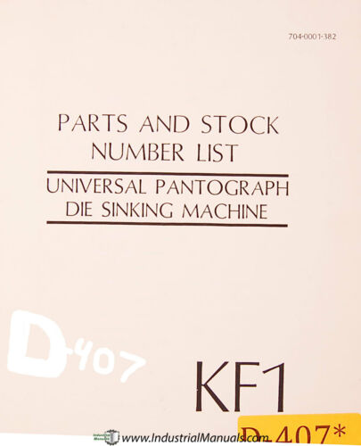 Deckel KF1 Universal Pantograph Die Sinking Parts Lists Manual