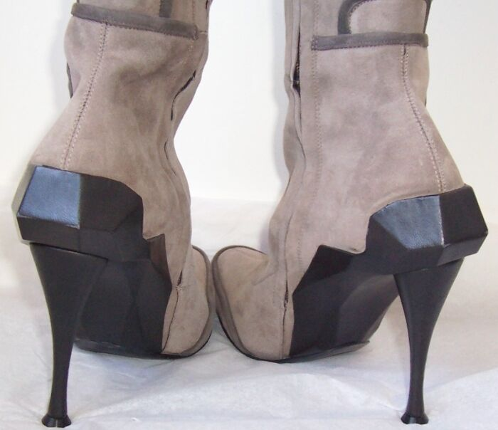 Celine Gamuza gris Pálido botas Taco De De De Cuero Negro 37 38.5 o al 40 bd9d3e
