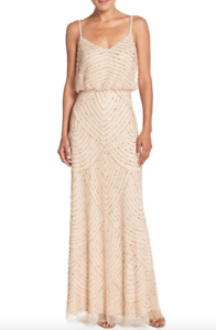 NWT Adrianna Papell Embellished Blouson Gown Champagne gold Sz 0 Bridesmaid