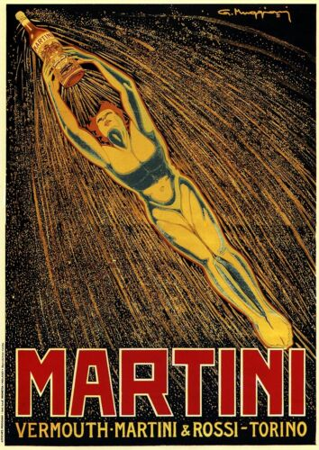 Martini Bevanda Vintage Retrò Poster Pubblicitario A1 A2 A3 A4 Taglie