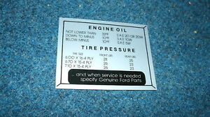 1956 FORD CAR GLOVE BOX TIRE PRESSURE DECAL STICKER
