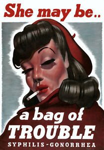 2W42-Vintage-WWII-She-MayBe-Trouble-Syphilis-Gonorrhea-Health-War-Poster-WW2-A4