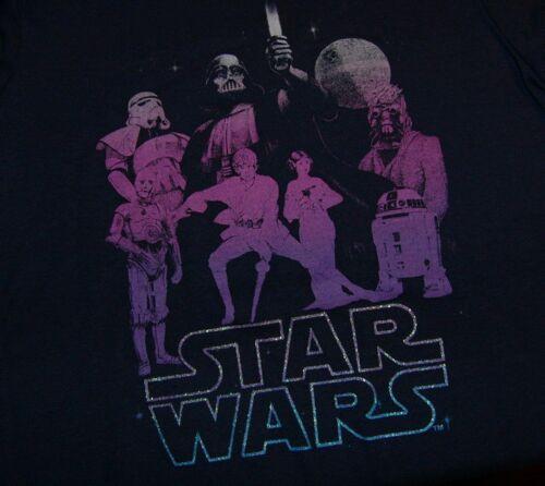NEW GIRLS STARS WARS NAVY S//S TOP T-SHIRT XS S M 4 5//6 7//8