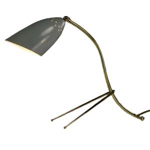 Alte Krähenfuß Tisch Lampe Lese Leuchte 50er Jahre Tütenschirm auf Messing MCM