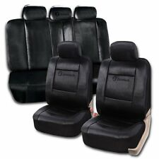 Zone Tech PU Leather Black Full Set Car Seat Covers Universal Split Bench Decor