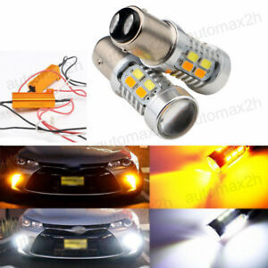2x-20W-Amber-White-1157-LED-Light-Bulbs-Switchback-Turn-Signal-Brake-H01