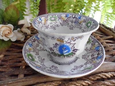 Cup & Saucer Francis Morley Antique CLEOPATRA Purple Floral Handle-less c.1845