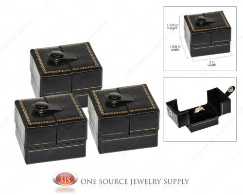 3 Ring Jewelry Gift Boxes Snap-Tab Ring Jewelry Gift Box Black Leatherette