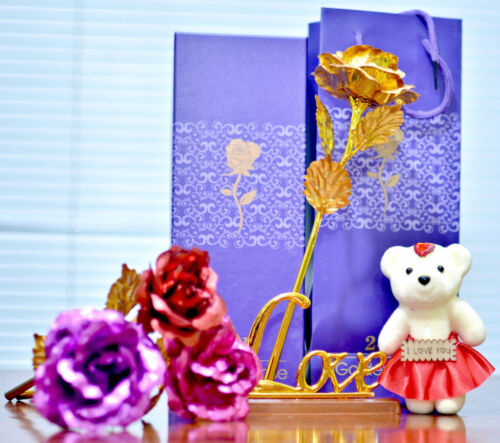 24K Gold Plated Rose Flower Mother/'s day  Birthday Gift+Teddy Bear+Love Stand