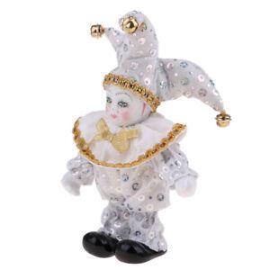 Victorian-Porcelain-Doll-Triangel-Harlequin-Doll-Figures-Arts-Crafts-White