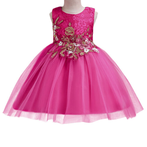 Flower Girl Dress Lace for Kid Wedding Bridesmaid Birthday Tutu Gown Dresses