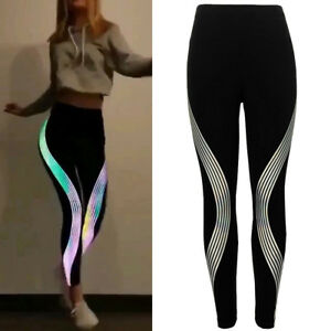 Details About Funny Women Neon Rainbow Leggings Fitness Sports Gym Running Yoga Athletic Pants