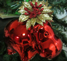 Unique Red and Gold 49ER COLORS POINSETTIA HIPPO CHRISTMAS TREE ORNAMENT DECOR