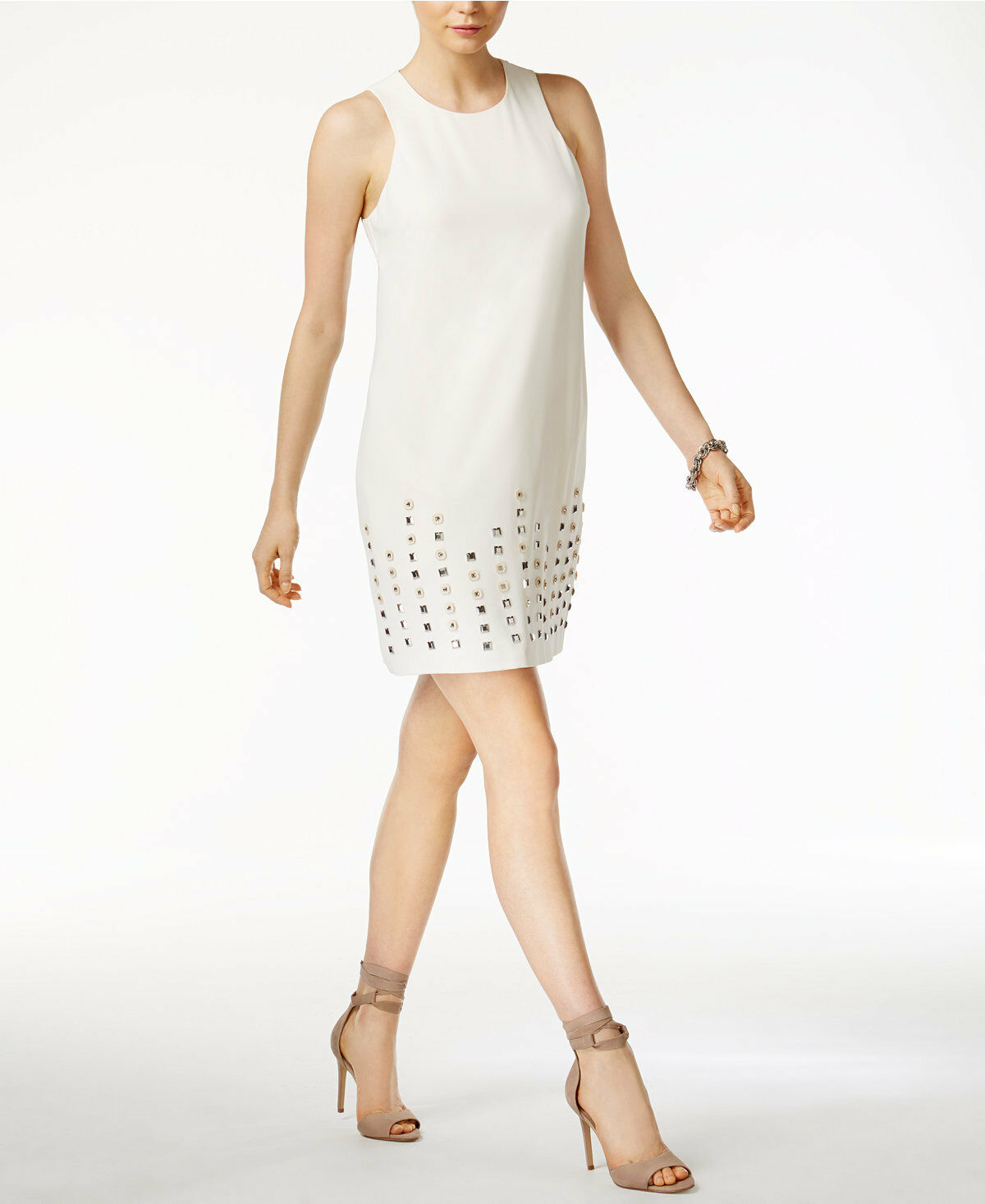 New Rachel Roy Studded-Hem Shift Dress 10 Ivory