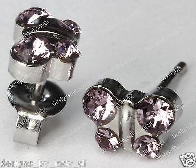 Butterfly Stud Earrings Pale Purple June Crystal Studex Sensitive Stainless