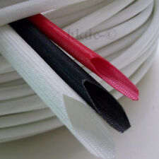 120mm Silicon Fiber Glass Sleeving Cable Wire Heat Resistant Tube Whiteblack
