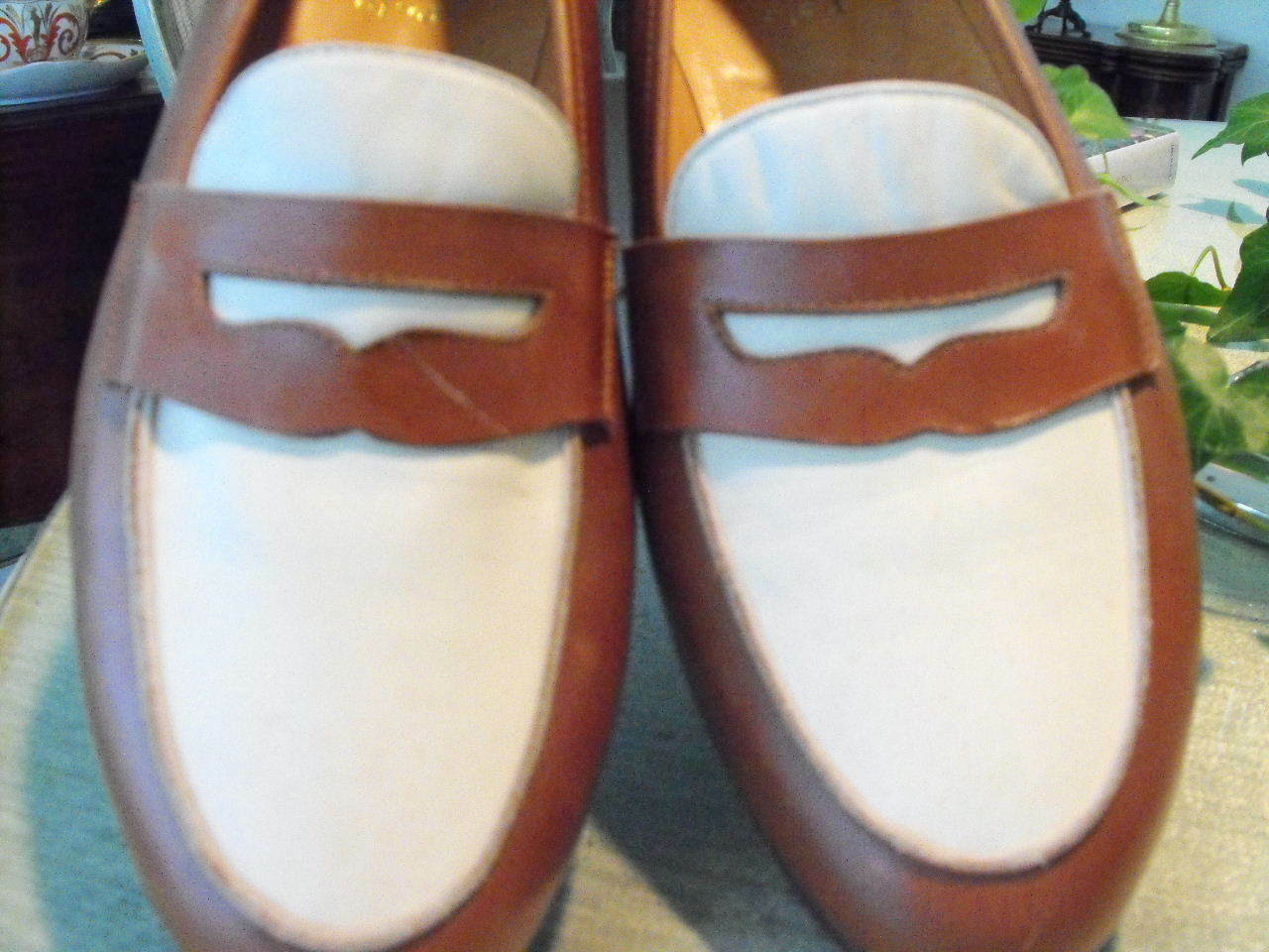Classic POLO marrone/White Calfskin English-Style Loafers    9.5D d2f230