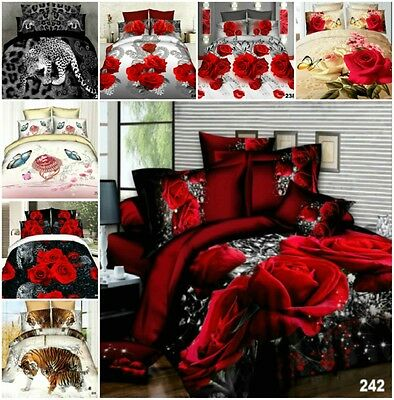 4Pcs Duvet Quilt Cover Fitted Sheet Pillowcases 3D Effects Complete Bedding Sets