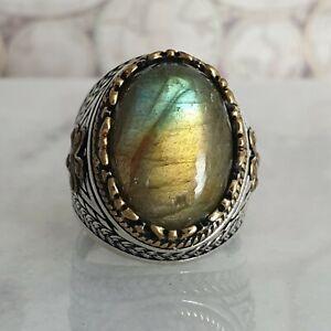 Solide-925-Sterling-Silber-Maenner-Ring-Cabochon-Natural-Labradorite-Edelstein