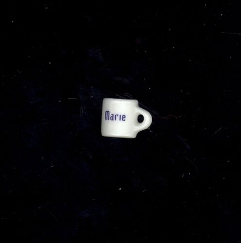 Miniature Coffee Cup Personalized Marie Dollhouse Charm Stocking Stuffer Crafts