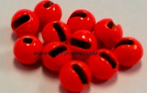 "Tungsten Slotted fly tying Beads Hot Orange 4.0 mm 5//32/"" 100 comte"