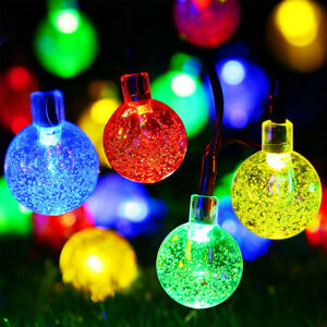 Details about 30 LEDs Solar Bubble RGB String Lights for Halloween  Christmas Xmas Trees Garden