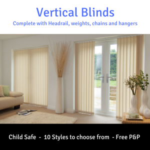 White-or-Cream-Vertical-Blinds-amp-Headrail-Complete-kit-Made-to-measure