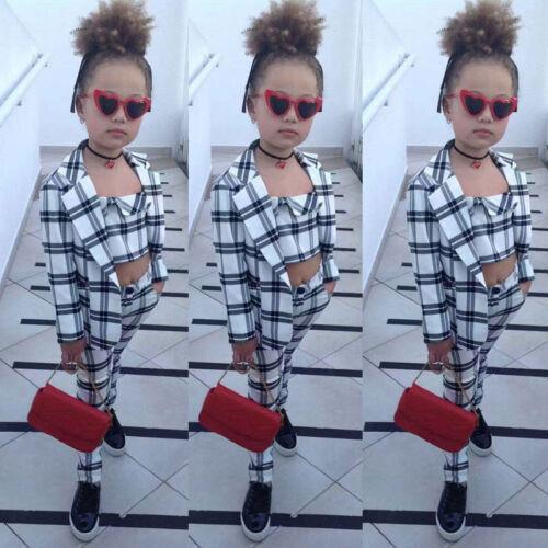3pcs Fashion Kids Girl Blazer Plaids Outfits Long Sleeve Coat+Tops+Pants Clothes