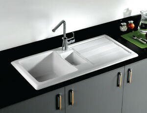 Rak Ceramic New Gourmet 1 1 5 Bowl Fireclay Inset Kitchen Sink Waste Included Ebay