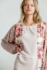 Umgee-Natural-Floral-Bohemian-Print-Long-Puff-Sleeve-Waffle-Knit-Top