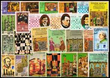 CHESS ON STAMPS-110 All Different Large World Wide Mixed Stamps, Used