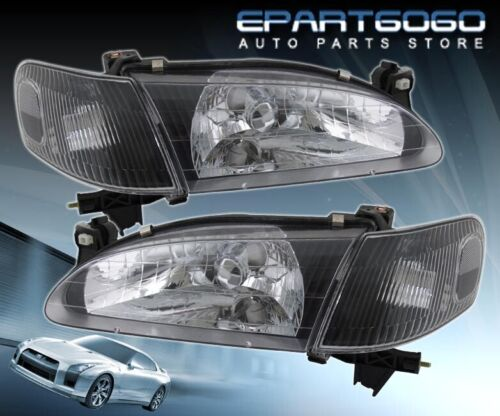 For 98-00 Corolla Black Housing Replacement Head Lights Lamps W//Corner Signal