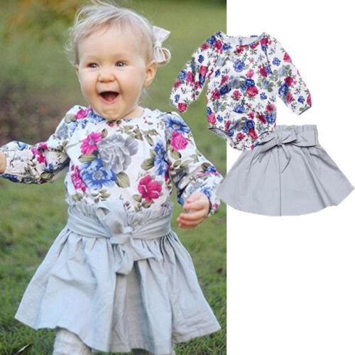 2PCS Toddler Kids Baby Girl Long Sleeve Floral Romper Tops+Bow Skirt Dress Suit