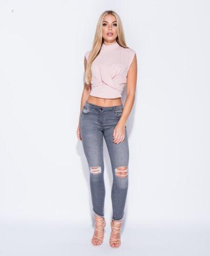 Ladies Womans Déchiré Skinny Slim gris effet vieilli un ourlet Effilé Jeans 6 8 10 12 14
