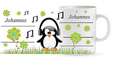Tasse-Becher mit Wunschname - Name - Pinguin Noten
