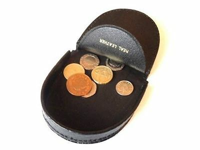 MENS HIGH QUALITY BLACK GENUINE LEATHER COIN HOLDER TRAY PURSE POUCH WALLET