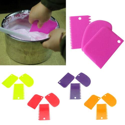 3Pcs Plastic Dough Icing Fondant Scraper Cake Baking Decorating Pastry Tools CA