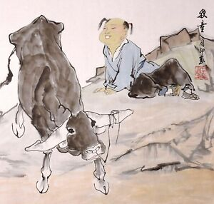 STUNNING-ORIENTAL-ASIAN-ART-CHINESE-FIGURE-WATERCOLOR-PAINTING-Boy-amp-Cow