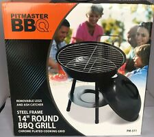 Pitmaster BBQ Black 14 Inch Round Grill Chrome Plated Cooking Grid Steel Frame