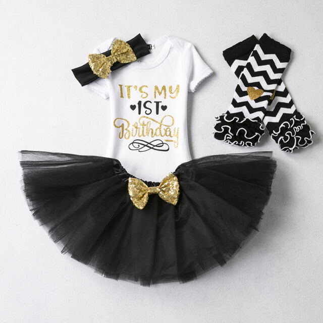 First 1st Birthday Outfits Baby Girl Gold Bow Tutu Dress Infant