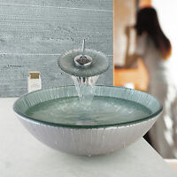 Uk Artist Bathroom Tempered Glass Basin Sink With Taps Waterfall Mixer Faucet
