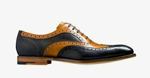 Mens Handmade shoes Two Tone Oxford Brogue Wingtip Racer Brogue Formal Wear Boot
