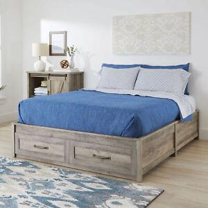 Platform Bed Frame Storage Drawer Queen Size Home Guest Bedroom