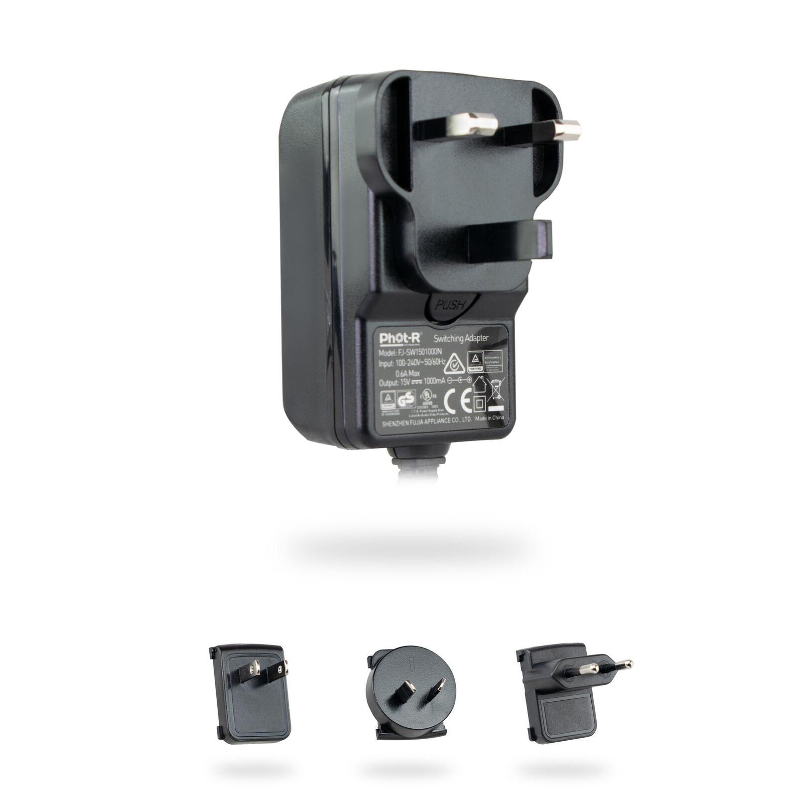 Phot-R 15V/1A AC/DC Mains Power Supply LED Light Panel UK Plug Travel Adapters