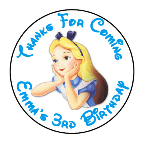 """24 PERSONALIZED ALICE IN  WONDERLAND BIRTHDAY PARTY FAVOR LABELS STICKERS 1.67/"""""""