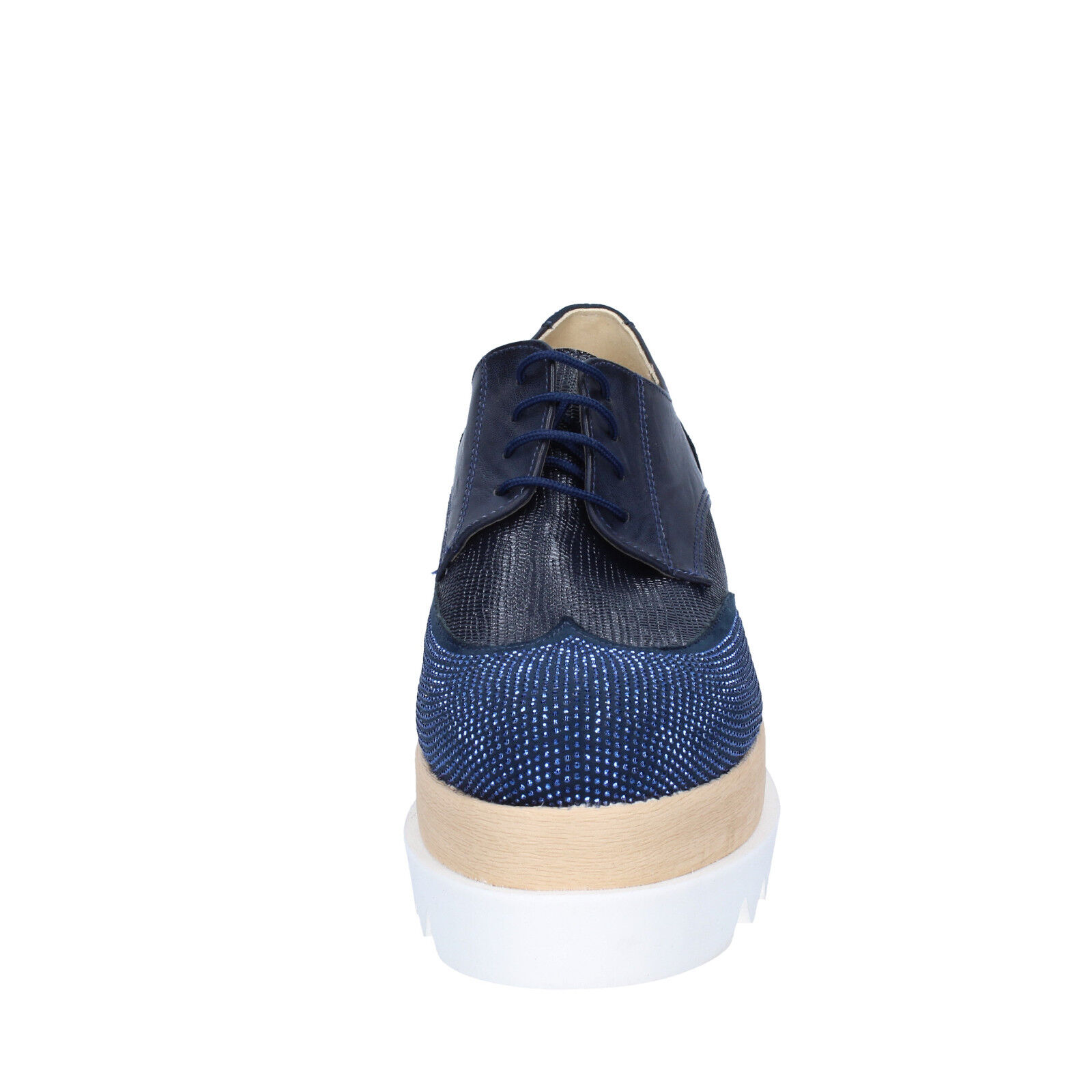 Damen schuhe OLGA RUBINI 38 EU BS96-38 elegante blau leder wildleder strass BS96-38 EU b03465