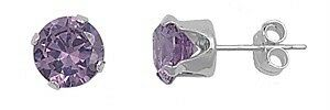 Sterling Silver Amethyst CZ Stud Earrings Round Brilliant Cut 925 Fine Jewelry