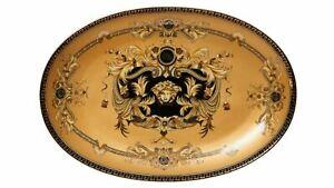 12-034-Euro-Porcelain-Medusa-Fine-Bone-China-Oval-Platter-Gold-Serving-Tray