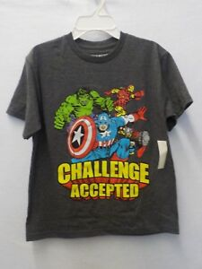 """BOYS SIZE LARGE MARVEL /""""CHALLENGE ACCEPTED/"""" CREW NECK TEE NEW NWT #4832"""